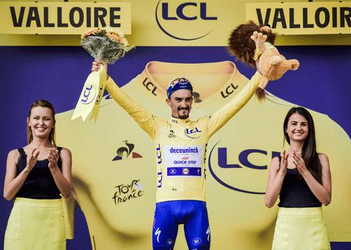 14ème maillot jaune pour Julian Alaphilippe